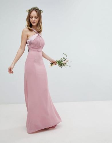 220dfd47ba Sukienka maxi długa plisowana z trenem i kokardą róż Divine Wear ...
