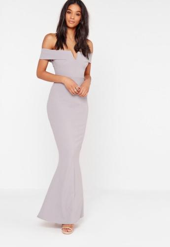 3a700eb566 Sukienka maxi długa bardotka szara Divine Wear - Moda Angielska