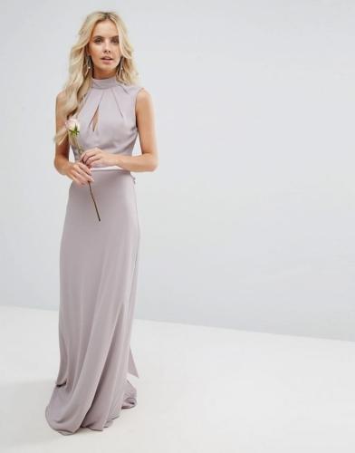1fe1da9646 Sukienka maxi długa szyfonowa z kokardą półgolf fiolet szary Divine ...