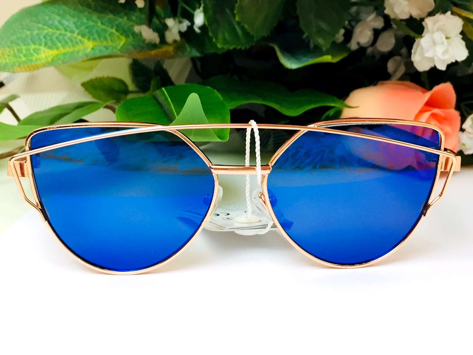 Okulary przeciwsłoneczne damskie kocie oczy lustrzanki niebieskie