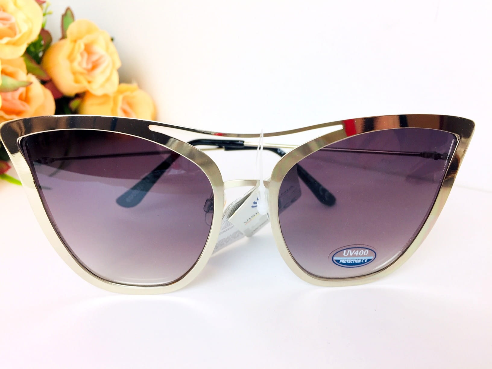 Okulary przeciwsłoneczne damskie oversize duże kocie oczy srebrne fioletowe